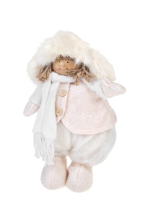 Кукла декоративная Малышка шапке-ушанке и шарфикеИгрушки и куклы<br>Выс=29см, полирезин, текстиль, бело-крем.<br>