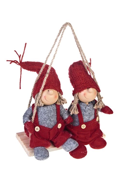 Набор декоративных кукол Веселые малышиКуклы<br>19*15см, полирезин, текстиль, красно-серый, подвесной<br>