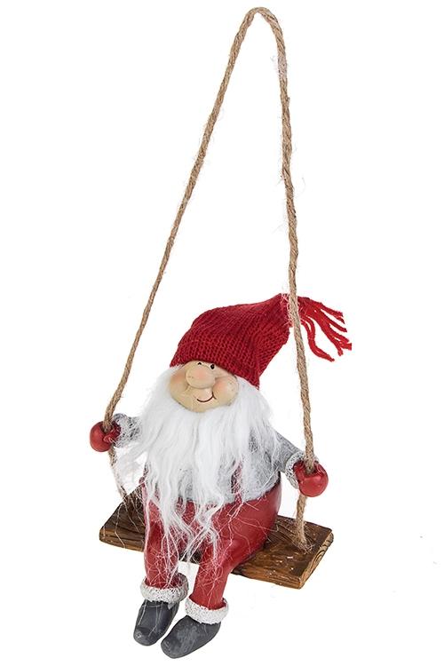 Кукла декоративная Гномик на качеляхИгрушки и куклы<br>10.5*17см, полирезин, текстиль, красно-бело-серая (2 вида)<br>