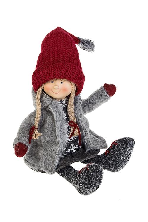 Кукла декоративная МалышкаИгрушки и куклы<br>Выс=23см, текстиль, полирезин, серо-красная<br>