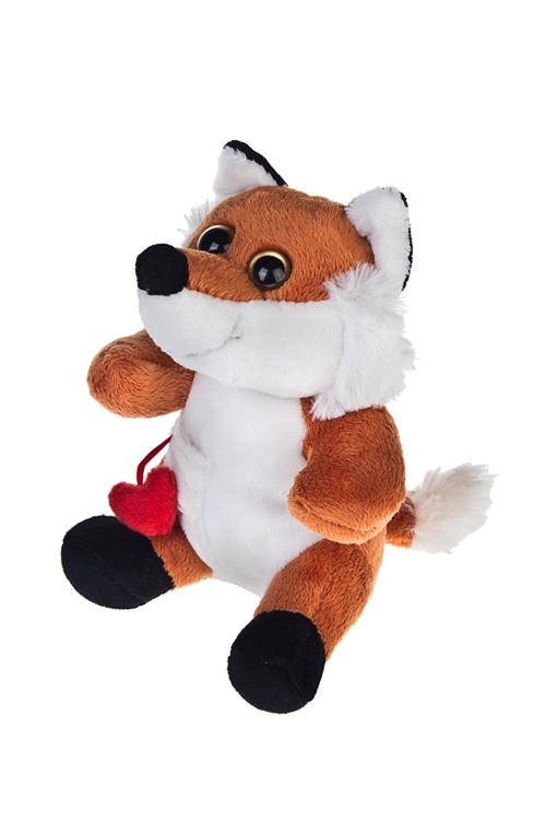 Игрушка мягкая Влюбленный лисенокПлюшевые игрушки<br>Выс=15см, текстиль, черно-оранж.-белая<br>