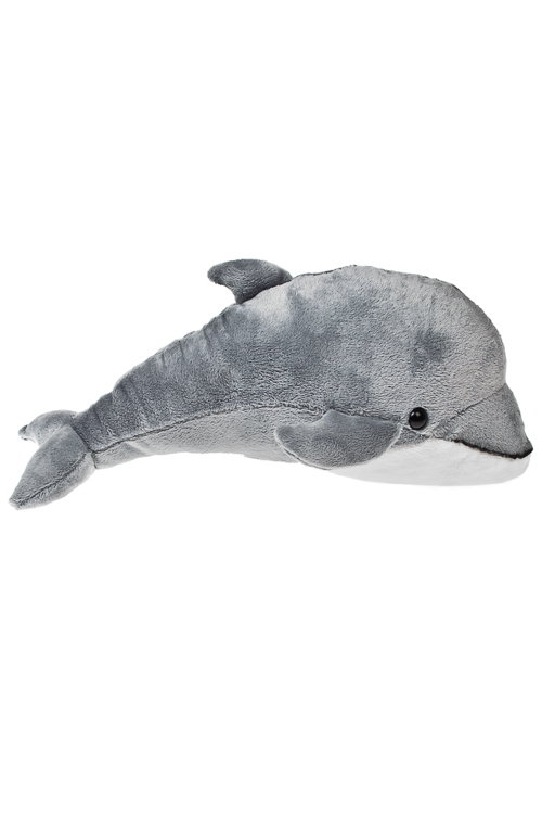 Игрушка мягкая ДельфинПодарки ко дню рождения<br>Дл=44см, текстиль, серо-белая<br>