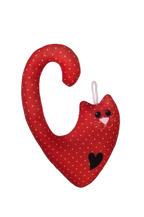 Игрушка мягконабивная Котик с сердечкомРелаксанты<br>15*10см, лайкра, красная<br>