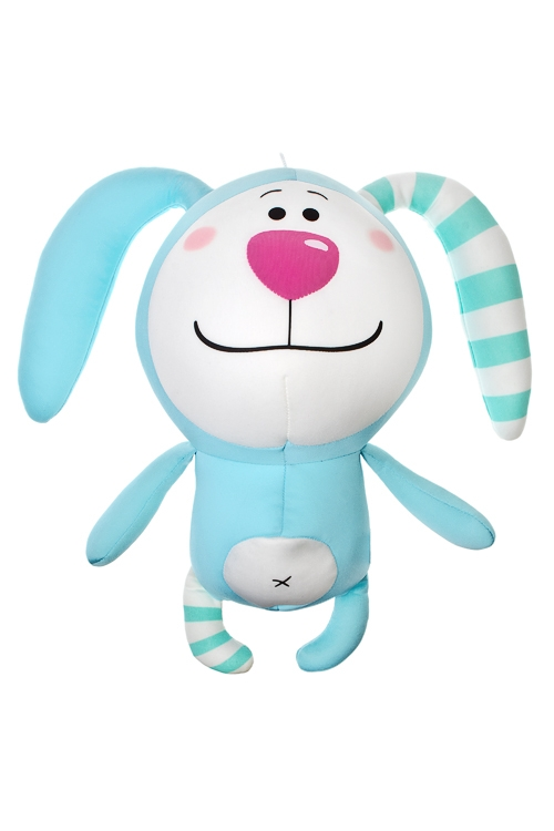 Игрушка мягконабивная Зайка в полосочкуТекстильные игрушки<br>Выс=32см, лайкра, бело-голубая<br>