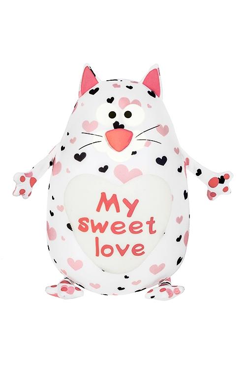 Игрушка мягконабивная Влюбленный котикИгрушки и куклы<br>Выс=30см, лайкра, бело-розовая<br>