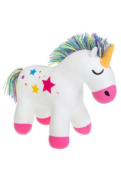 Игрушка мягконабивная Волшебный единорожкаПлюшевые игрушки<br>30*25см, лайкра, бело-розовая<br>