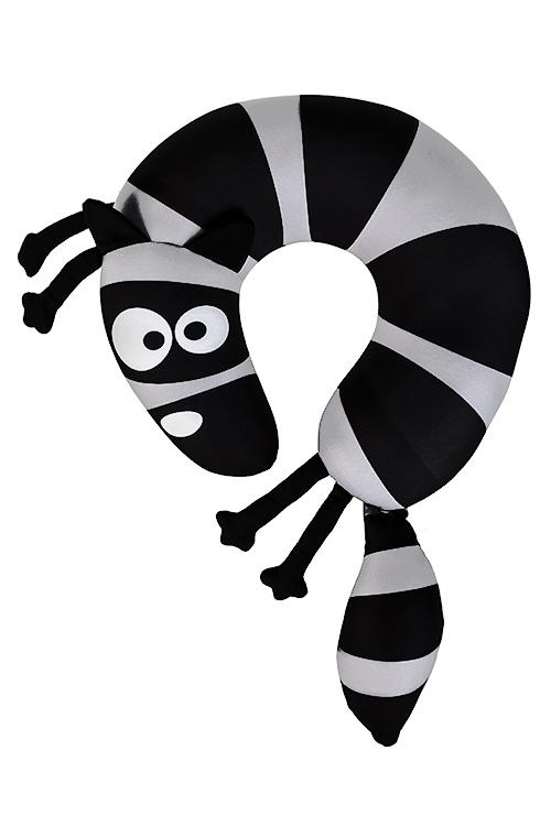Подушка-подголовник Обнимашка ЕнотПодголовники и аксессуары для путешествий<br>35см, лайкра, серо-черная<br>