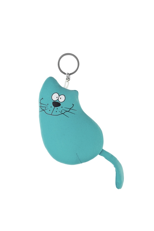 Брелок Счастливый котСувениры и упаковка<br>Выс=10см, текстиль, голуб.<br>