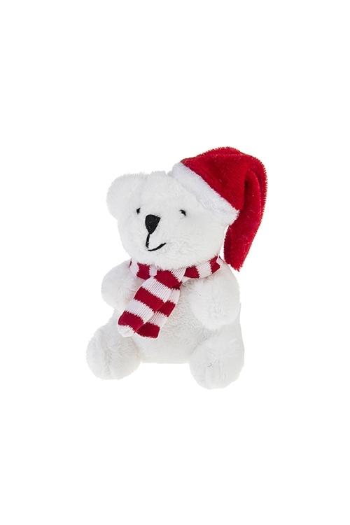 Игрушка мягкая Мишка в колпачкеПлюшевые игрушки<br>Выс=8см, текстиль, бело-красная<br>