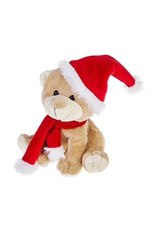 Игрушка мягкая Маленький мишкаИгрушки и куклы<br>Выс=15см, текстиль, крем.-красная<br>