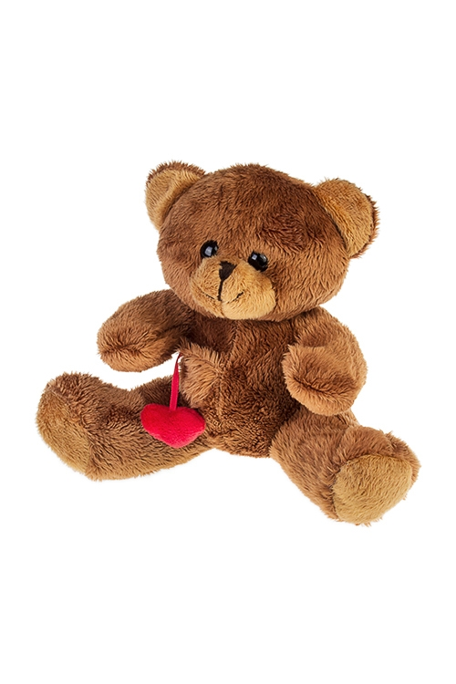 Игрушка мягкая Влюбленный мишкаПлюшевые игрушки<br>Выс=15см, текстиль, коричн.<br>