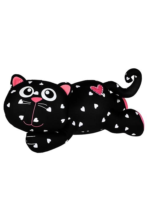 Игрушка мягкая Котик-бегемотикПодарки ко дню рождения<br>Дл=35см, лайкра, черно-розовая<br>