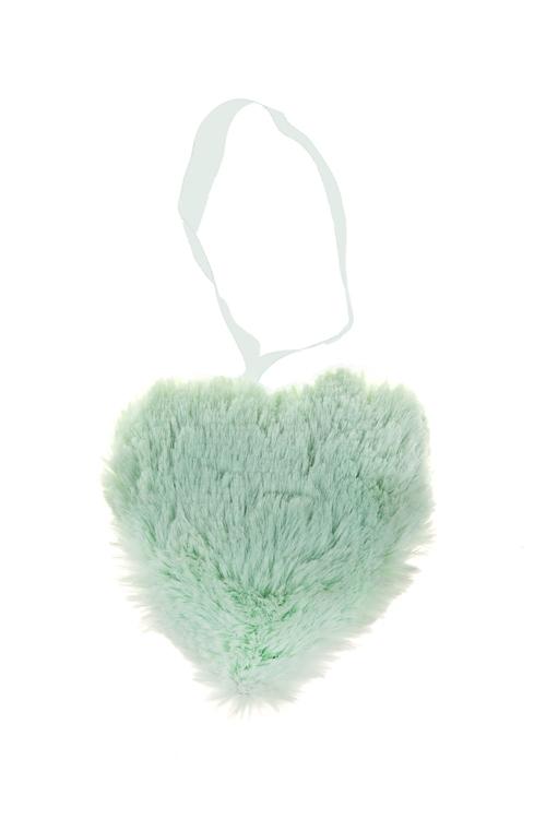 Украшение декоративное СердцеСердца на 14 февраля<br>8*10см, текстиль, мятное, подвесное<br>