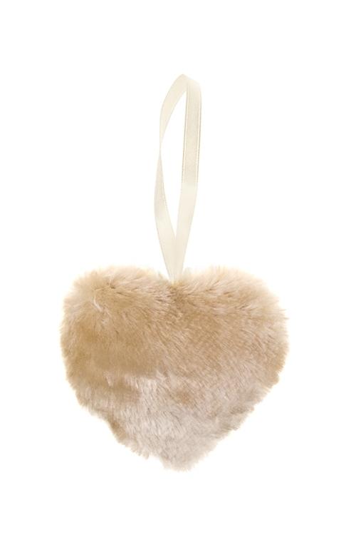 Украшение декоративное СердцеСердца на 14 февраля<br>8*10см, текстиль, крем., подвесное<br>