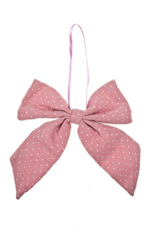 Украшение декоративное БантикПодарки<br>10*12см, текстиль, розовое, подвесное<br>