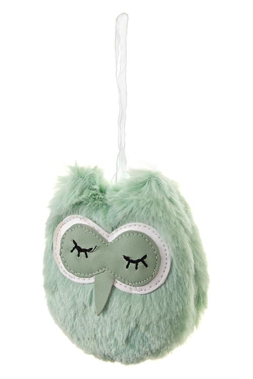 Игрушка мягкая СоваПодарки ко дню рождения<br>10*8см, текстиль, мятная, подвесная<br>