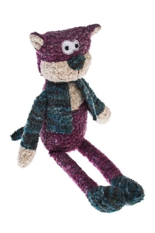 Игрушка мягкая Дружелюбный котПлюшевые игрушки<br>Выс=26см текстиль сирен.-бело-синяя<br>