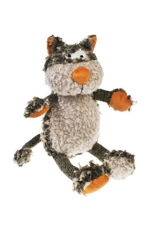 Игрушка мягкая Яркий кот избавит от заботВыс=43см, текстиль, серо-оранж.<br>