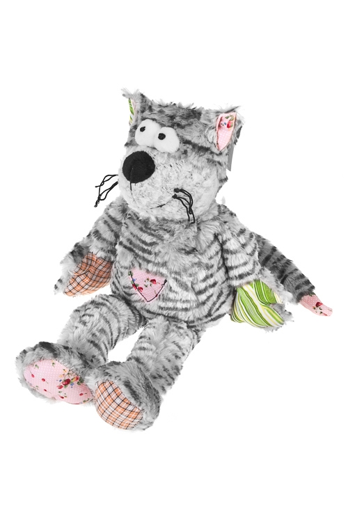Игрушка мягкая Кот ПолиглотПлюшевые игрушки<br>14*35см, текстиль, серо-черная<br>