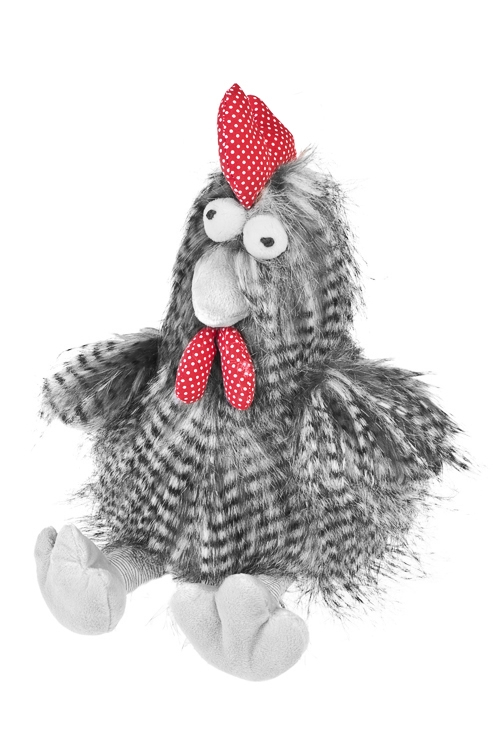 Игрушка мягкая Петушок - счастливый гребешокПлюшевые игрушки<br>24*35см, текстиль, серая<br>
