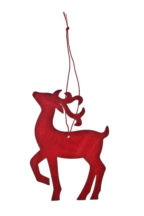 Украшение декоративное Волшебный оленьЕлочные игрушки<br>Выс=12см, дерево, красное, подвесное<br>