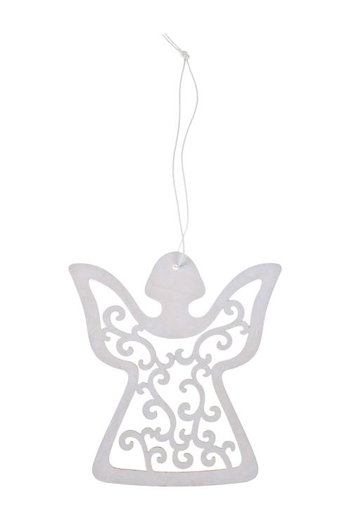 Украшение декоративное Ажурный ангелочекПодарки<br>Выс=12см, дерево, белое, подвесное<br>