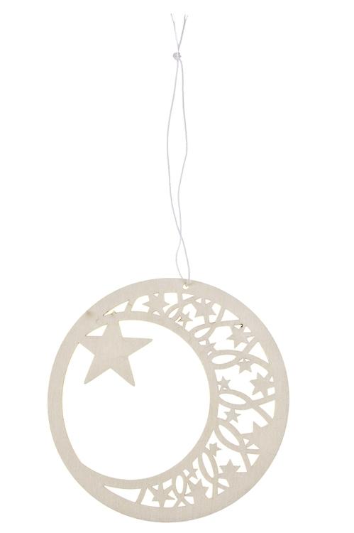 Украшение декоративное Волшебный месяцПодарки<br>Д=12см, дерево, подвесное (2 цвета)<br>