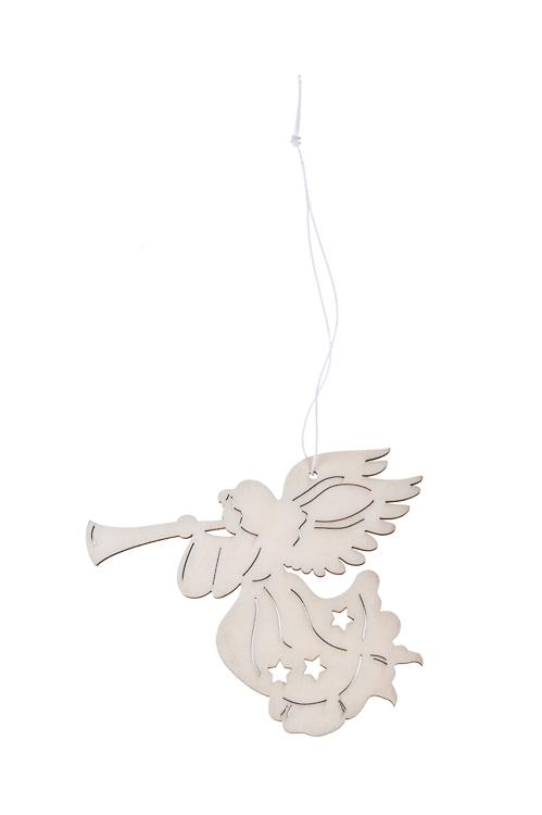Украшение декоративное Ангелочек с дудочкойЕлочные игрушки<br>Выс=12см, дерево, белое, подвесное<br>
