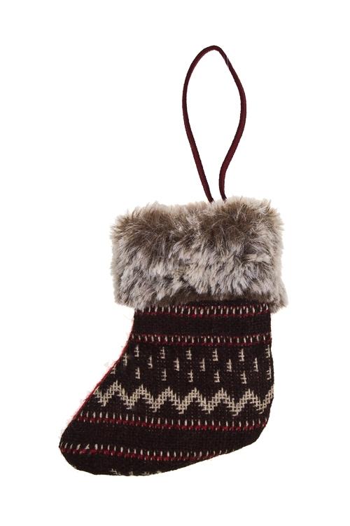 Украшение декоративное Норвежский носокЕлочные игрушки<br>10*8см, текстиль, коричн.-белое, подвесное<br>