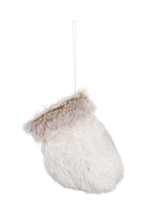 Украшение декоративное Теплая варежкаПодарки<br>11*8см, текстиль, пенопласт, серо-белое, подвесное<br>