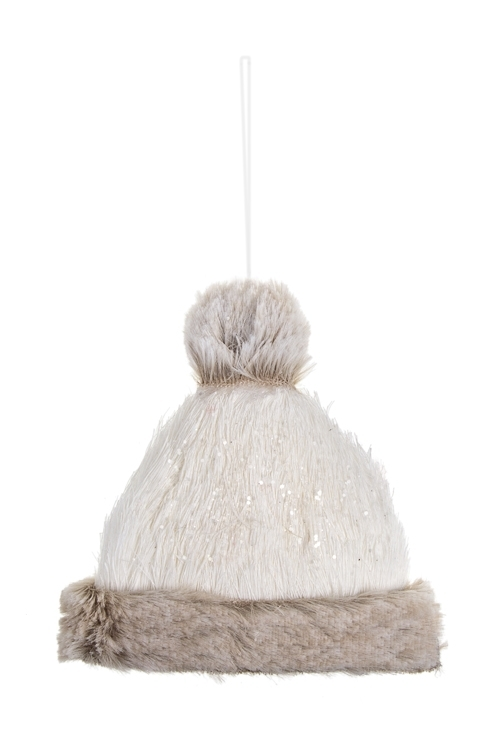 Украшение декоративное Теплая шапочкаЕлочные игрушки<br>12*11см, текстиль, пенопласт, серо-белое, подвесное<br>