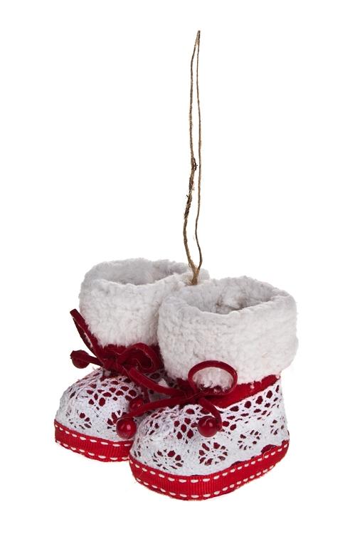 Украшение декоративное Вязаные сапожкиПодарки<br>11*8см, текстиль, красно-белое, подвесное (2 вида)<br>