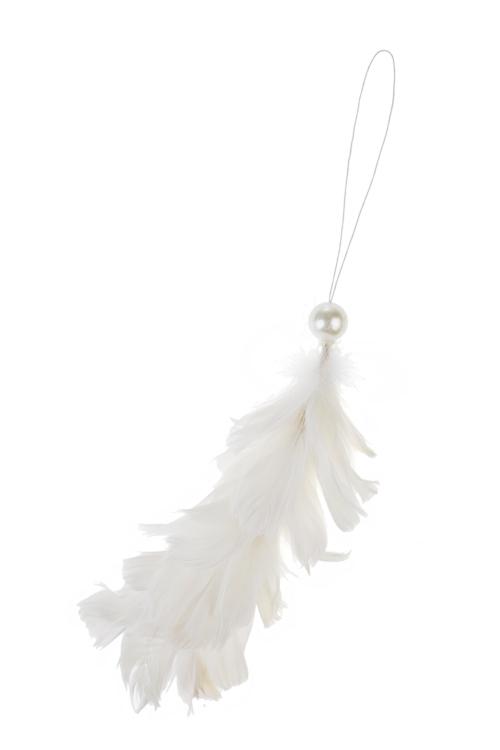 Украшение декоративное ПерышкиПодарки<br>Выс=10см, перо, белое, подвесное (2 вида)<br>