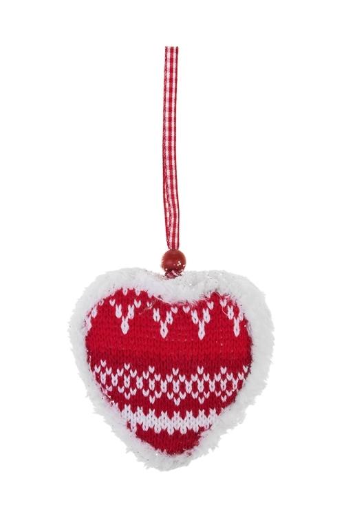 Украшение декоративное Норвежское сердцеПодарки на Новый год 2018<br>Выс=10см, текстиль, красно-белое, подвесное (2 вида)<br>