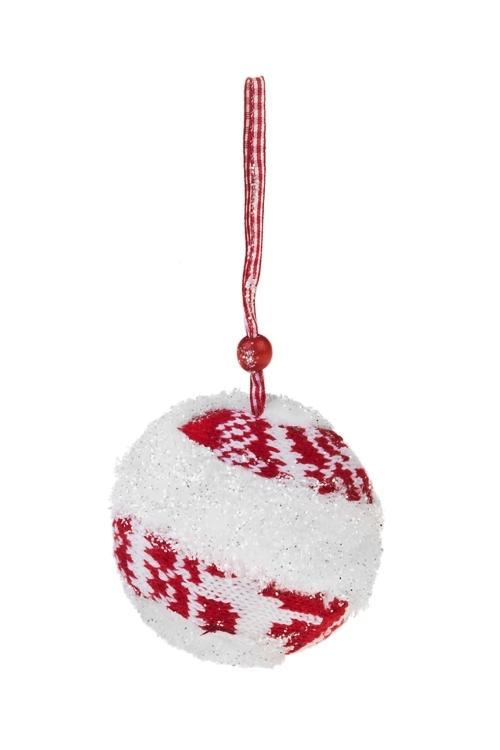 Украшение декоративное Норвежский шарЕлочные игрушки<br>Д=8см, текстиль, красно-белое, подвесное<br>