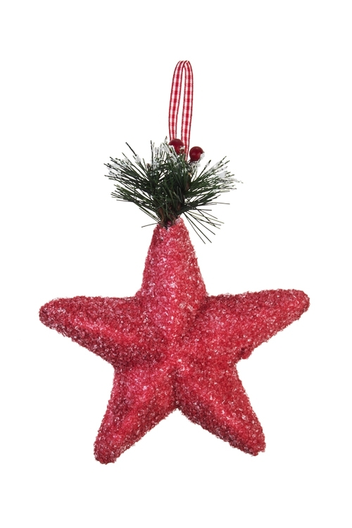 Украшение декоративное Счастливая звездаЕлочные игрушки<br>14*14см, текстиль, пенопласт, красное, подвесное<br>