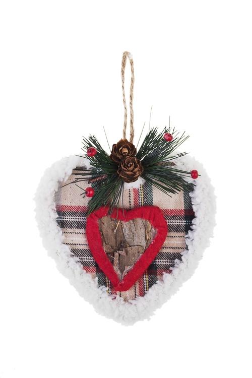 Украшение декоративное Клетчатое сердцеПодарки на Новый год 2018<br>Выс=13см, текстиль, пенопласт, подвесное<br>