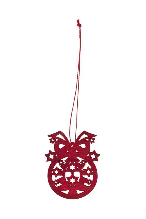 Украшение декоративное Волшебный шарикЕлочные игрушки<br>Д=8см, дерево, красное, подвесное<br>