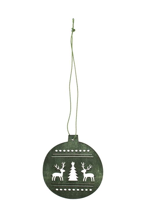 Украшение декоративное Волшебный шарикЕлочные игрушки<br>Д=8см, дерево, зеленое, подвесное<br>