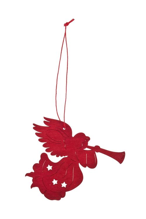 Украшение декоративное Ангелочек с дудочкойПодарки<br>Выс=12см, дерево, красное, подвесное<br>