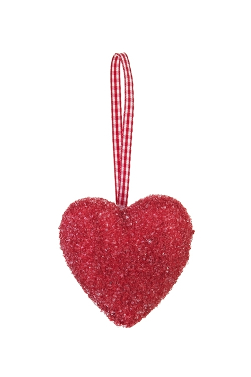 Украшение декоративное Счастливое сердцеСувениры и упаковка<br>Выс=7см, пенопласт, красное, подвесное<br>