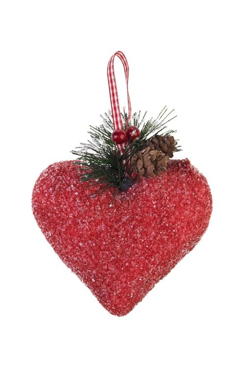 Украшение декоративное Счастливое сердцеПодарки<br>Выс=9см, пенопласт, красное, подвесное<br>
