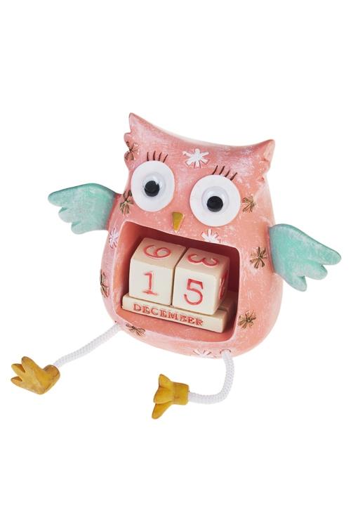 Календарь настольный Удивленная соваНовогодние сувениры<br>Выс=11см, полирезин, крем.-мятно-розовый<br>