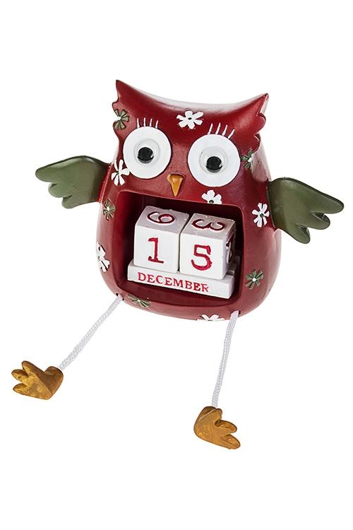 Календарь настольный Удивленная соваНастольные календари<br>Выс=11см, полирезин, красно-зелено-белый<br>