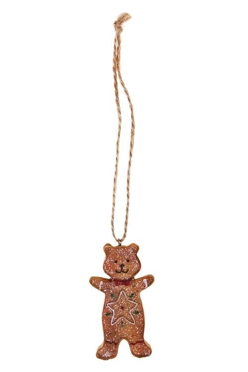 Украшение декоративное Пряничный мишаЕлочные игрушки<br>Выс=8см, полирезин, беж., подвесное (2 вида)<br>