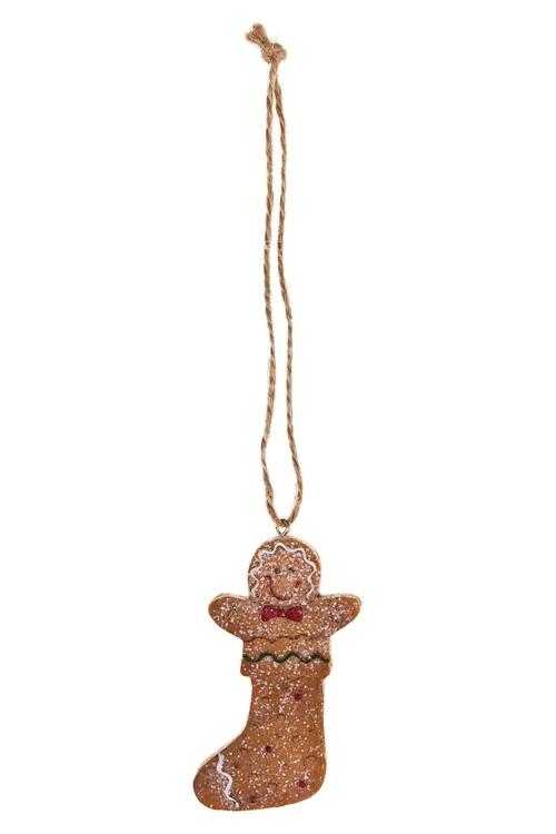 Украшение декоративное Имбирное печеньеЕлочные игрушки<br>Выс=8см, полирезин, беж., подвесное (4 вида)<br>