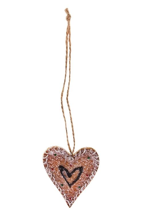 Украшение декоративное Пряничное сердцеПодарки<br>Выс=6.5см, полирезин, беж., подвесное (3 вида)<br>