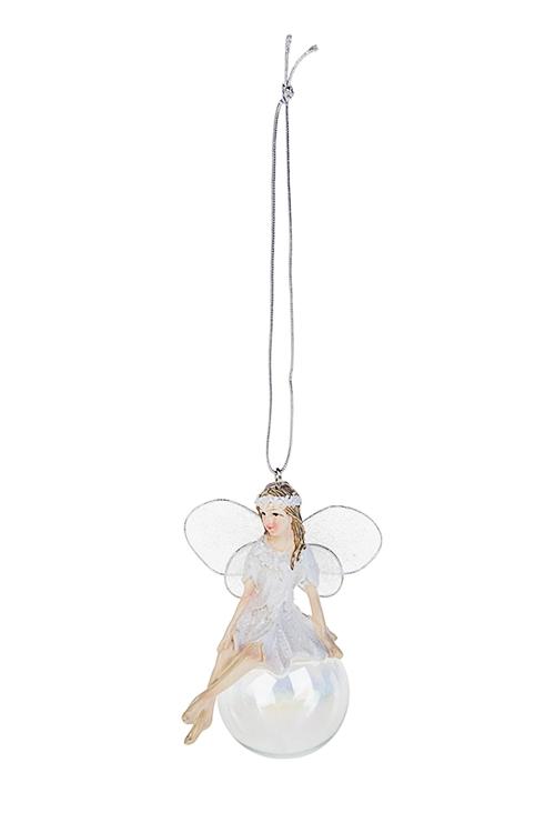 Украшение декоративное Феечка на шареЕлочные игрушки<br>Выс=9см, полирезин, бело-серебр., подвесное (2 вида)<br>
