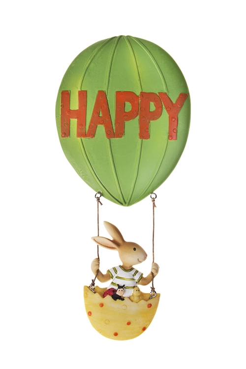 Украшение декоративное Зайка на воздушном шареДекоративные гирлянды и подвески<br>9*20см, полирезин, подвесное<br>
