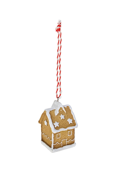 Украшение декоративное Пряничный домикЕлочные игрушки<br>Выс=7см, полирезин, беж.-белое, подвесное (3 вида)<br>